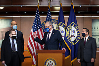 United States Senate Majority Leader Chuck Schumer (Democrat of New York) is joined by Bicameral Democratic Leaders for a press conference ahead of House passage of H.R. 5 - the Equality Act, at the U.S. Capitol in Washington, DC, Thursday, February 25, 2021. Credit: Rod Lamkey / CNP /MediaPunch