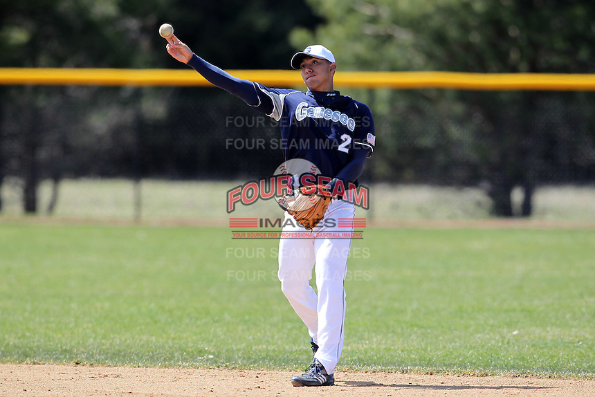 Genesee Community College Cougars second baseman Manny Hernandez #2 during a game against the Ithaca JV team at Genesee Community College on April 9, 2011 in Batavia, New York.  Photo By Mike Janes/Four Seam Images