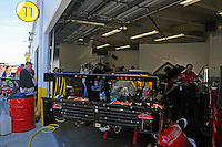 The #95 Crown Royal-NPN Racing BMW/Riley in the garage.