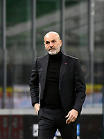 Football Soccer: Tim Cup Quarter Finals InternazionaleMIlan vs Milan, Giuseppe Meazza Stadium (San Siro) Milan, on January 26, 2021.<br /> Milan's coach Stefano Pioli looks on during the Italian Tim Cup football match between Inter  and Milan at the Giuseppe Meazza stadium in Milan, January 26, 2021.<br /> UPDATE IMAGES PRESS/Isabella Bonotto
