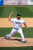 Binghamton Rumble Ponies relief pitcher Corey Taylor (47) delivers a pitch during a game against the Hartford Yard Goats on July 9, 2017 at NYSEG Stadium in Binghamton, New York.  Hartford defeated Binghamton 7-3.  (Mike Janes/Four Seam Images)