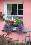 County Clare, Ireland<br /> Bunratty Folk Park, colorful farmhouse wall with window box planter