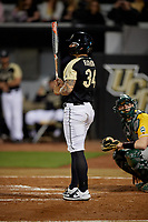 UCF Knights Jordan Rathbone (34) bats during a game against the Siena Saints on February 14, 2020 at John Euliano Park in Orlando, Florida.  UCF defeated Siena 2-1.  (Mike Janes/Four Seam Images)