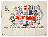 BNPS.co.uk (01202 558833)<br /> Pic: Ewbank's/BNPS<br /> <br /> Pictured: Carry On Doctor (1967) poster sold for £125. <br /> <br /> A saucy collection of more than 20 vintage film posters from the 'Carry On' films have sold for almost £10,000.<br /> <br /> The 30ins by 40ins British quad posters were used on cinema billboards to advertise the comedy movies from the 1960s and '70s.<br /> <br /> The colourful posters depict comedy actors like Sid James, Kenneth Williams and Barbara Windsor who regularly starred in the comedy caper franchise.
