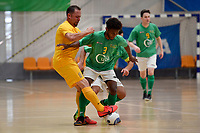 Melvin Rumere of Central and Carlos Herrmann of Southern during the Men's Futsal SuperLeague, Central Futsal v Southern United Futsal at ASB Sports Centre, Wellington on Saturday 31 October 2020.<br /> Copyright photo: Masanori Udagawa /  www.photosport.nz