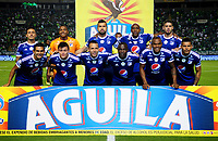 PALMIRA - COLOMBIA - 24 - 02 - 2018: Los jugadores de Millonarios, posan para una foto, durante partido entre Deportivo Cali y Millonarios de la fecha 5 por la liga Aguila I 2018, jugado en el estadio Deportivo Cali (Palmaseca) en la ciudad de Palmira. / The players of Millonarios, pose for a photo, during a match between Deportivo Cali and Millonarios of the 5th date for the Liga Aguila I 2018, at the Deportivo Cali (Palmaseca) stadium in Palmira city. Photo: VizzorImage  / Nelson Rios / Cont.