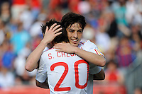 Santiago Cazorla (20) of Spain celebrates scoring with David Silva (21). The men's national team of Spain (ESP) defeated the United States (USA) 4-0 during a International friendly at Gillette Stadium in Foxborough, MA, on June 04, 2011.