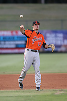 Evan Potter (17) of the AZL Giants makes a throw during a game against the AZL Angels at Tempe Diablo Stadium on July 6, 2015 in Tempe, Arizona. Angels defeated the Giants, 3-1. (Larry Goren/Four Seam Images)