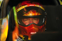 May 4, 2012; Commerce, GA, USA: NHRA top fuel dragster driver Terry McMillen during qualifying for the Southern Nationals at Atlanta Dragway. Mandatory Credit: Mark J. Rebilas-
