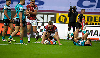 29th April 2021; DW Stadium, Wigan, Lancashire, England; BetFred Super League Rugby, Wigan Warriors versus Hull FC; Jackson Hastings of Wigan Warriors  goes over for his try and the score 4-0