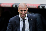 Real Madrid's coach Zinedine Zidane during La Liga match between Real Madrid and Athletic Club de Bilbao at Santiago Bernabeu Stadium in Madrid, Spain. April 21, 2019. (ALTERPHOTOS/A. Perez Meca)