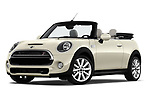 Stock pictures of low aggressive front three quarter view of a 2019 Mini Cooper Cooper S Chili 2 Door Convertible