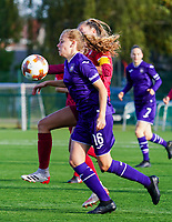 Anderlecht's Jarne Teulings (16) and Essevee's captain Axana Waelkens (8) in action during a female soccer game between the women teams of Zulte Waregem B Dames and RSC Anderlecht Ladies on the 1/16 th qualifying round for the Belgian Womens Cup 2020  2021 , on saturday 26 th of September 2020  in Zulte , Belgium . PHOTO SPORTPIX.BE | SPP | SEVIL OKTEM