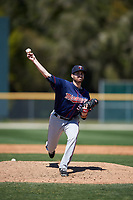 Minnesota Twins Clark Beeker (52) during a minor league Spring Training game against the Baltimore Orioles on March 17, 2017 at the Buck O'Neil Baseball Complex in Sarasota, Florida.  (Mike Janes/Four Seam Images)