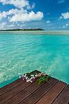 The clear waters of Aitutaki lagoon, Cook Islands