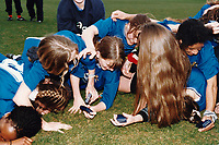 Millwall players celebrate victory during Everton Ladies vs Millwall Lionesses, FA Women's Premier League Cup Final Football at Underhill, Barnet FC on 23rd March 1997