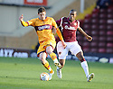 31/10/2009  Copyright  Pic : James Stewart.sct_jspa06_motherwell_v_hearts  . :: LUKAS JUTKIEWICZ KEEPS THE BALL AWAY FROM JOSE GONCALVES :: .James Stewart Photography 19 Carronlea Drive, Falkirk. FK2 8DN      Vat Reg No. 607 6932 25.Telephone      : +44 (0)1324 570291 .Mobile              : +44 (0)7721 416997.E-mail  :  jim@jspa.co.uk.If you require further information then contact Jim Stewart on any of the numbers above.........