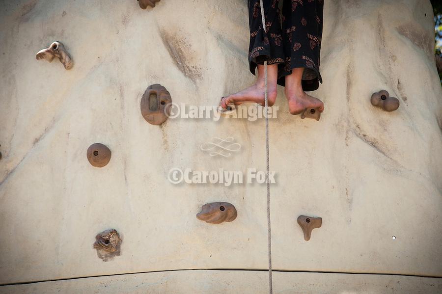 74th Amador County Fair, Plymouth, Calif...Feet on the climbing wall