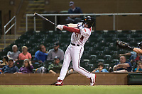 Salt River Rafters first baseman Pavin Smith (44), of the Arizona Diamondbacks organization, follows through on his swing during an Arizona Fall League game against the Scottsdale Scorpions at Salt River Fields at Talking Stick on October 11, 2018 in Scottsdale, Arizona. Salt River defeated Scottsdale 7-6. (Zachary Lucy/Four Seam Images)