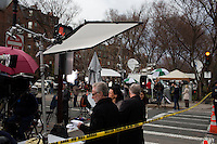 Wolf Blitzer and other members of the national media gather near the site of the bombings in Boston, Mass., on April 16, 2013, the day after bombings at the Boston Marathon.