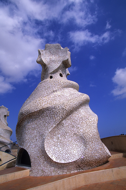 "SPAIN, BARCELONA, MILA HOUSE, ""LA PEDRERA"", ROOF, CHIMNEY"