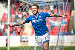 St Johnstone v Dundee United...19.04.14    SPFL<br /> Stevie May celebrates his goal<br /> Picture by Graeme Hart.<br /> Copyright Perthshire Picture Agency<br /> Tel: 01738 623350  Mobile: 07990 594431