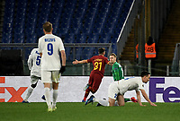Football Soccer: UEFA Europa League round of 32 first leg AS Roma vs KAA Gent, Olympic stadium, Rome, 20 February, 2020.<br /> Roma's Carles Pérez (c) celebrates after scoring during the Europa League football match between Roma and Gent at the Olympic stadium in Rome on 20 February, 2020.<br /> UPDATE IMAGES PRESS/Isabella Bonotto