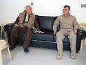 Iraq 2014 <br />  Hamid Effendi, peshmerga leader, with his deputy Najmeddin Kado in his headquarters of Dubardan near the front line  <br /> Irak 2014 <br /> Hamid Effendi, chef de peshmergas a son quartier general de Dubardan pres de la ligne de front avec son adjoint Najmeddin Kado