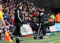 Saturday 19 January 2013<br /> Pictured L-R: Michael Laudrup manager for Swansea and Tony Pulis manager for Stoke.<br /> Re: Barclay's Premier League, Swansea City FC v Stoke City at the Liberty Stadium, south Wales.
