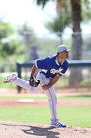 Geoff Brown #82 of the Los Angeles Dodgers pitches during a Minor League Spring Training Game against the Cleveland Indians at the Los Angeles Dodgers Spring Training Complex on March 22, 2014 in Glendale, Arizona. (Larry Goren/Four Seam Images)