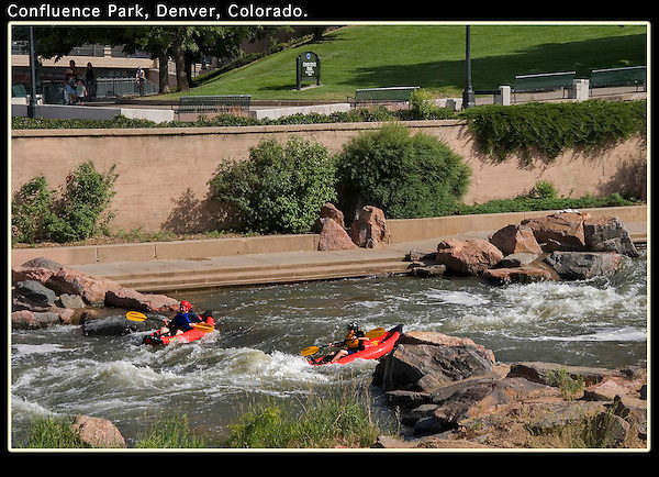 Rafters on South Platte River, Confluence Park, Denver, Colorado. .  John leads private photo tours in Boulder and throughout Colorado. Year-round.