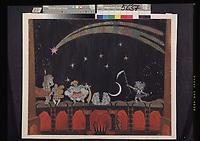 Dobuschinski, Mstislaw Walerianowitsch (1875-1957), Bildentwurf zum Theaterstn Teufelswerk an einem Mann von A. Remisow, Bleistift, Aquarelle, Gouache, Gold und Silber auf Papier, 43,6x53,7, Theatermalerei, 1907, Russland, Staatliches Zentrales A. Bachruschin Theatermuseum, Moskau. | Dobuzhinsky, Mstislav Valerianovich (1875-1957), Stage design for the theatre play The infernal stuff on a man by A. Remisov, Pencil, watercolour, gouache, gold and silver colours on paper, 43,6x53,7, Theatrical scenic painting, 1907, Russia, State Central A. Bakhrushin Theatre Museum, Moscow. VG-Bild-Kunst Bonn  Credit: culture-images/fai  Persoenlichkeitsrechte werden nicht vertreten.  Verwendung / usage: weltweit / worldwide