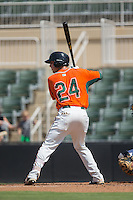 Zach Sullivan (24) of the Greensboro Grasshoppers at bat against the Kannapolis Intimidators at Intimidators Stadium on July 17, 2016 in Greensboro, North Carolina.  The Intimidators defeated the Grasshoppers 3-2 in game one of a double-header.  (Brian Westerholt/Four Seam Images)