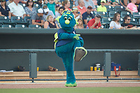 "Columbia Fireflies mascot ""Mason"" entertains the fans between innings of the South Atlantic League game against the Charleston RiverDogs at Spirit Communications Park on June 9, 2017 in Columbia, South Carolina.  The Fireflies defeated the RiverDogs 3-1.  (Brian Westerholt/Four Seam Images)"