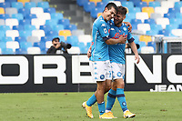 Hirving Lozano of SSC Napoli celebrates with  Dries Mertens <br /> during the Serie A football match between SSC Napoli and Atalanta BC at stadio San Paolo in Napoli (Italy), October 17th, 2020. <br /> Photo Cesare Purini / Insidefoto