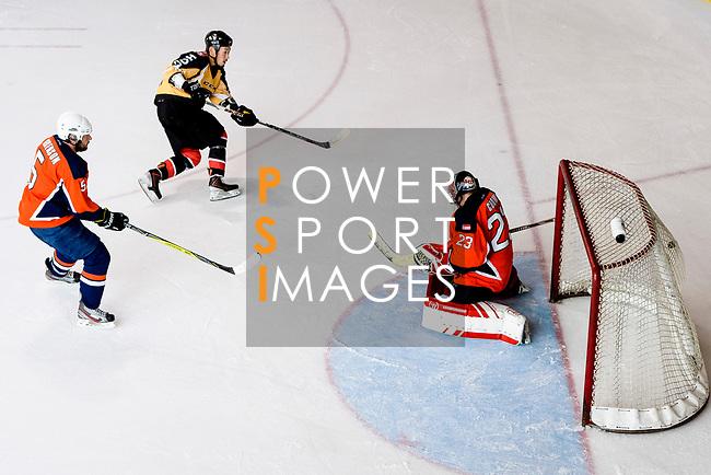 Naoki Kaneko of Empire Skate (C) scores during the Mega Ice Hockey 5s match between Singapore Hawkers and Empire Skate on May 04, 2018 in Hong Kong, Hong Kong. Photo by Marcio Rodrigo Machado / Power Sport Images