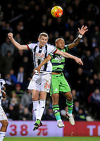 Darren Fletcher of West Bromwich Albion and Andre Ayew of Swansea City during the Barclays Premier League match between West Bromwich Albion and Swansea City at The Hawthorns on the 2nd of February 2016