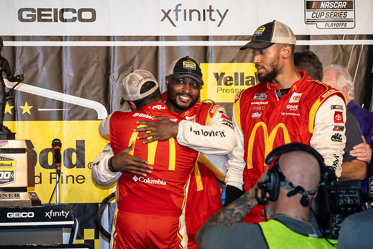 #23: Bubba Wallace, 23XI Racing, Toyota Camry McDonald's celebrates in victory lane with his crew
