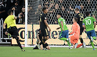 LOS ANGELES, CA - OCTOBER 29: Raul Ruidiaz #9 of the Seattle Sounders FC scores a goal and celebrates during a game between Seattle Sounders FC and Los Angeles FC at Banc of California Stadium on October 29, 2019 in Los Angeles, California.