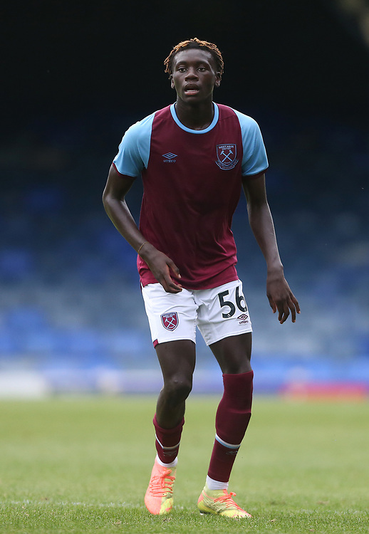 West Ham United's Emmanuel Longelo<br /> <br /> Photographer Rob Newell/CameraSport<br /> <br /> EFL Trophy Southern Section Group A - Southend United v West Ham United U21 - Tuesday 8th September 2020 - Roots Hall - Southend-on-Sea<br />  <br /> World Copyright © 2020 CameraSport. All rights reserved. 43 Linden Ave. Countesthorpe. Leicester. England. LE8 5PG - Tel: +44 (0) 116 277 4147 - admin@camerasport.com - www.camerasport.com