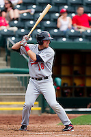 Jay Brossman (18) of the Arkansas Travelers at bat during a game against the Springfield Cardinals on May 10, 2011 at Hammons Field in Springfield, Missouri.  Photo By David Welker/Four Seam Images.