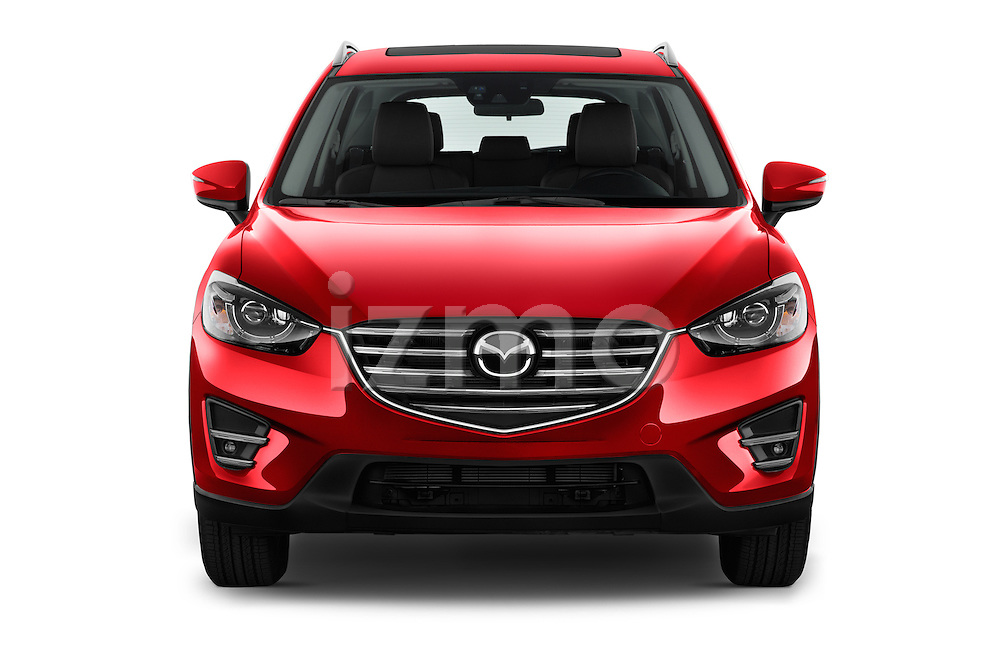 Car photography straight front view of a 2016 Mazda CX-5 Grand-Touring-auto 5 Door SUV Front View