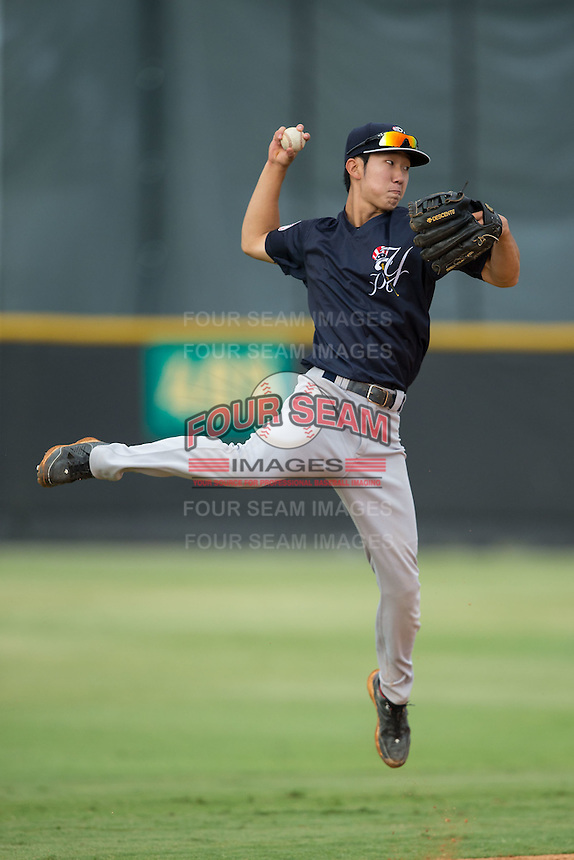 Pulaski Yankees shortstop Hoy Jun Park (34) makes a jump throw to first base during batting practice prior to the game against the Burlington Royals at Burlington Athletic Park on August 6, 2015 in Burlington, North Carolina.  The Royals defeated the Yankees 1-0. (Brian Westerholt/Four Seam Images)