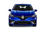 Car photography straight front view of a 2020 Renault Clio-e-Tech RS-Line 5 Door Hatchback Front View