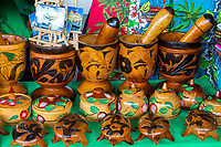 Willemstad, Curacao, Lesser Antilles.  Souvenir Wood Carvings: Turtles, Bowls, Mortars and Pestles.