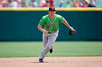 Gwinnett Stripers third baseman Austin Riley (27) during a game against the Columbus Clippers on May 17, 2018 at Huntington Park in Columbus, Ohio.  Gwinnett defeated Columbus 6-0.  (Mike Janes/Four Seam Images)
