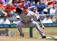 29 May 2011: San Diego Padres first baseman Brad Hawpe in action against the Washington Nationals at Nationals Park in Washington, District of Columbia. The Padres defeated the Nationals 5-4 to take the rubber match of their 3-game series. Mandatory Credit: Ed Wolfstein Photo