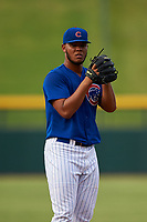 AZL Cubs 1 starting pitcher Misael Garcia (54) during an Arizona League game against the AZL Giants Orange on July 10, 2019 at Sloan Park in Mesa, Arizona. The AZL Giants Orange defeated the AZL Cubs 1 13-8. (Zachary Lucy/Four Seam Images)