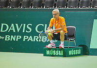 Swiss, Genève, September 14, 2015, Tennis,   Davis Cup, Swiss-Netherlands, practise Dutch team,  coach Martin Bohm<br /> Photo: Tennisimages/Henk Koster