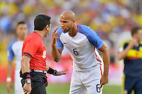 Santa Clara, CA - Friday June 03, 2016: United States defender John Brooks (6) argues with an official during a Copa America Centenario Group A match between United States (USA) and Colombia (COL) at Levi's Stadium.